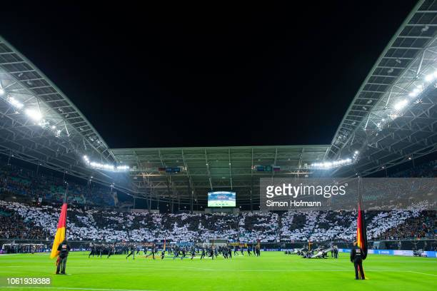 Fans of Germany show a choreography reading 'Teamgeist' prior to the International Friendly match between Germany and Russia at Red Bull Arena on...
