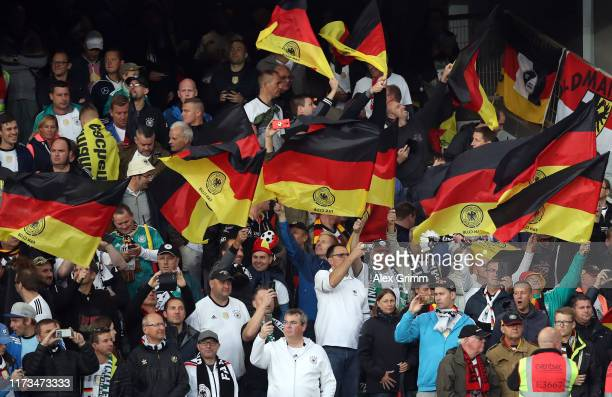 Fans of Germany support their team during the UEFA Euro 2020 qualifier match between Northern Ireland and Germany at Windsor Park on September 09...