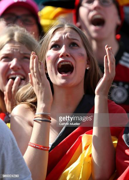 Fans of Germany support their Team while watching the 2018 FIFA World Cup Russia Group F match between Korea Republic and Germany at the FIFA Fan...