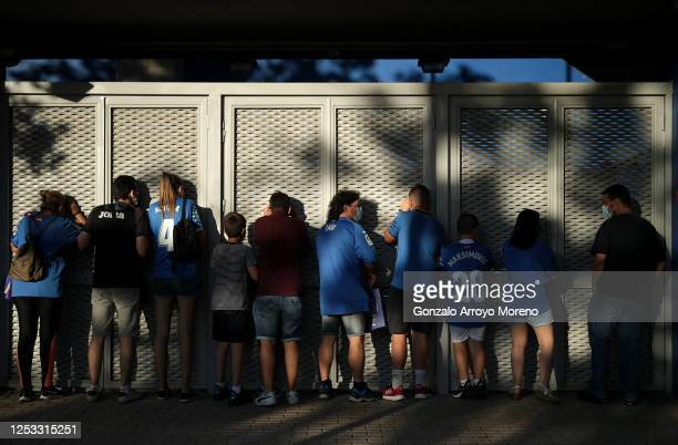 Fans of Getafe CF congregate outside the ground ahead of the La Liga match between Getafe CF and Real Sociedad at Coliseum Alfonso Perez on June 29,...