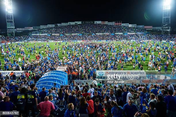 Fans of Getafe CF invade the picth after Getafe CF win La Liga 2 play off during La Liga 2 play off round between Getafe and CD Tenerife at Coliseum...