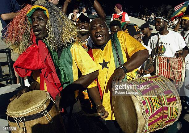 Fans of Ghana cheer before the match against Australia in the first round of the FIFA Women's World Cup at the PGE Park on September 28 2003 in...