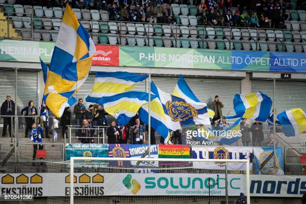 Fans of GIF Sundsvall before the Allsvenskan match between IFK Goteborg and GIF Sundvall at Gamla Ullevi on November 5 2017 in Gothenburg Sweden