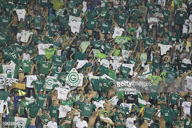 Fans of Goias celebrate a goal in a 2010 Copa Sudamericana quarterfinals soccer match between Goias and Avai at the Serra Dourada Stadium on October...
