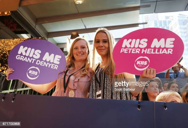 Fans of Grant Denyer and Peter Helliar show their support in the crowd at the 59th Annual Logie Awards at Crown Palladium on April 23 2017 in...