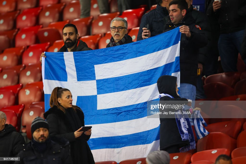 Fans of Greece hold up a flag during the International Friendly match between Egypt and Greece at Stadion Letzigrund at Letzigrund on March 27, 2018 in Zurich, Switzerland.