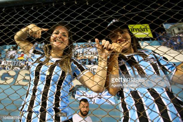 Renato Gaucho coach of Gremio greets the fans after winning a quarter final first leg match between Atletico Tucuman and Gremio as part of Copa...