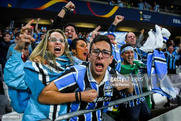 Fans of Gremio FBPA celebrates after Everton of Gremio FBPA scored his side's goal during the FIFA Club World Cup UAE 2017 semifinal match between...