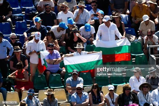 Fans of Grigor Dimitrov of Bulgaria during the Monte Carlo Rolex Masters 1000 at Monte Carlo on April 20 2018 in Monaco Monaco