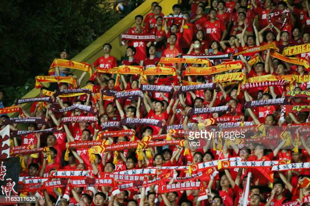 Fans of Guangzhou Evergrande looks on during the 2019 Chinese Football Association Super League 19th round match between Guangzhou R&F and Guangzhou...