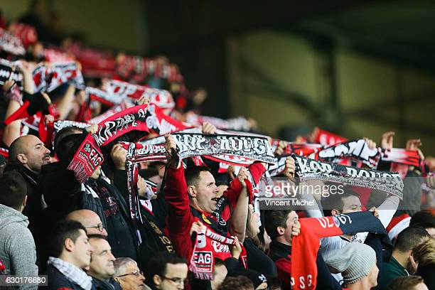 Fans of Guingamp during the French Ligue 1 match between Guingamp and Paris Saint Germain at Stade du Roudourou on December 17 2016 in Guingamp France