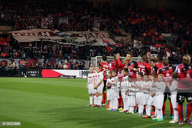Fans of Guingamp during the Ligue 1 match between EA Guingamp and Lille OCS at Stade du Roudourou on October 15, 2016 in Guingamp, France.
