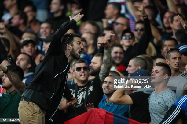 Fans of Hadjuk Split during the UEFA Europa League Qualifying PlayOffs round first leg match between Everton FC and Hajduk Split at Goodison Park on...