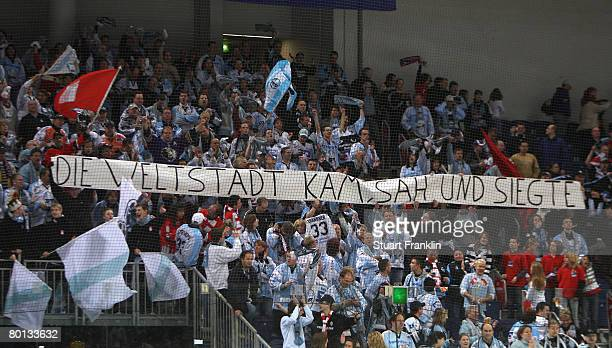 Fans of Hamburg display a victorious banner during the DEL match between Hannover Scorpions and Hamburg Freezers at the TUI Arena on March 05 2008 in...