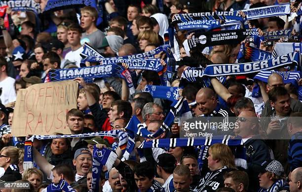 Fans of Hamburg show a protest banner against president Bernd Hoffmann of Hamburg prior to the Bundesliga match between Hamburger SV and 1. FC...