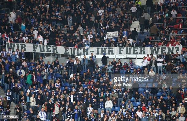 Fans of Hamburg show a protest banner prior to the Bundesliga match between Hamburger SV and 1 FC Nuernberg at HSH Nordbank Arena on May 1 2010 in...