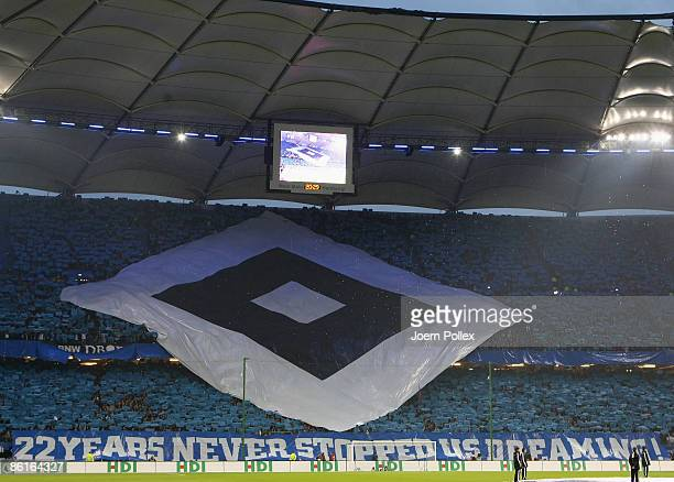 Fans of Hamburg show banner during the DFB Cup Semi Final match between Hamburger SV and SV Werder Bremen at the HSH Nordbank Arena on April 22 2009...