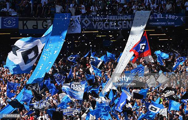 Fans of Hamburg show their support during the Bundesliga match between Hamburger SV and VfL Wolfsburg at the Volkspark stadium on May 07 2016 in...