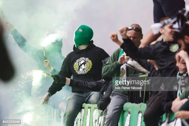 Fans of Hammarby IF during the Allsvenskan match between Hammarby IF and AIK at Tele2 Arena on September 10 2017 in Stockholm Sweden