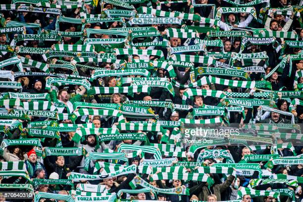 Fans of Hammarby IF during the Allsvenskan match between Hammarby IF and Halmstad BK at Tele2 Arena on November 5 2017 in Stockholm Sweden