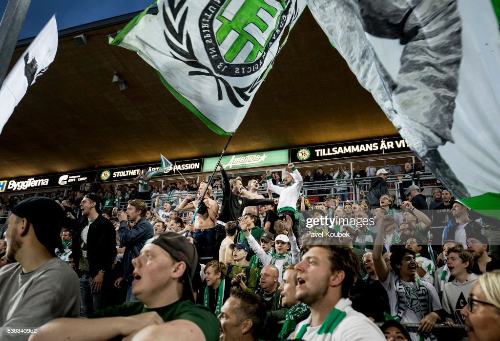 Fans of Hammarby IF during the Allsvenskan match between Orebro SK and Hammarby IF at Behrn Arena on August 21, 2017 in Orebro, Sweden.
