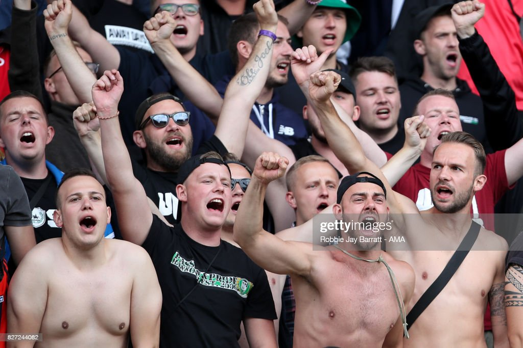 Fans of Hannover 96 during the Pre-Season Friendly between Burnley and Hannover 96 at Turf Moor on August 5, 2017 in Burnley, England.