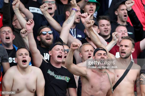 Fans of Hannover 96 during the PreSeason Friendly between Burnley and Hannover 96 at Turf Moor on August 5 2017 in Burnley England