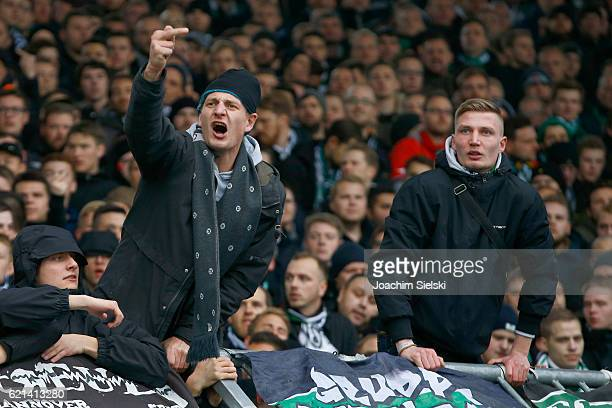 Fans of Hannover during the Second Bundesliga match between Eintracht Braunschweig and Hannover 96 at Eintracht Stadion on November 6 2016 in...