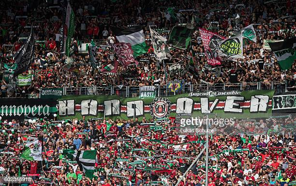 Fans of Hanover are seen during the Second Bundesliga match between Hannover 96 and SG Dynamo Dresden at HDIArena on September 11 2016 in Hanover...
