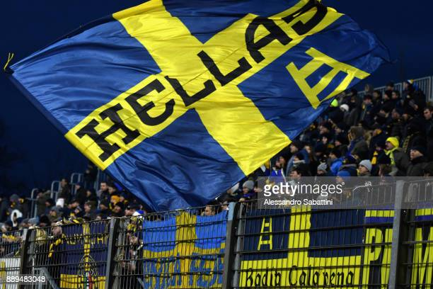 Fans of Hellas Verona FC during the Serie A match between Spal and Hellas Verona FC at Stadio Paolo Mazza on December 10 2017 in Ferrara Italy