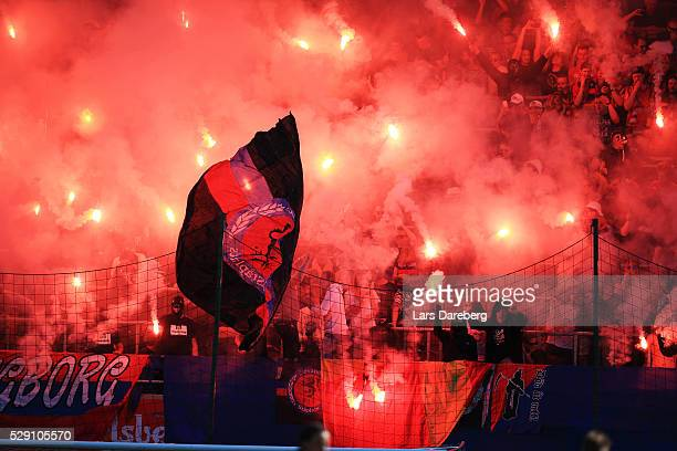 Fans of Helsingborgs IF during the Allsvenskan match between Helsingborgs IF and Malmo FF at Olympia on May 8 2016 in Helsingborg Sweden
