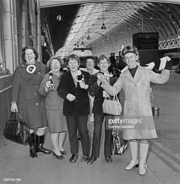 Fans of Hereford United FC in London to watch their team play West Ham United in the 4th round of the FA Cup, UK, February 1972.