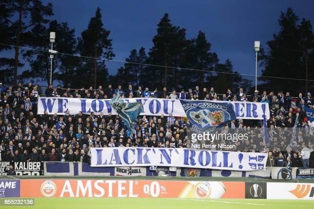 Fans of Herta Berlin SC during the UEFA Europa League group J match between Ostersunds FK and Hertha BSC at Jamtkraft Arena on September 28, 2017 in...