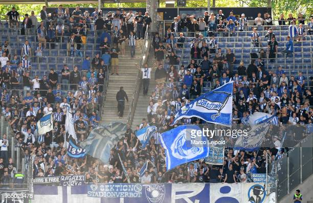 fans of Hertha BSC before the Bundesliga game between Hannover 96 and Hertha BSC at HDI Arena on May 5 2018 in Hannover Germany