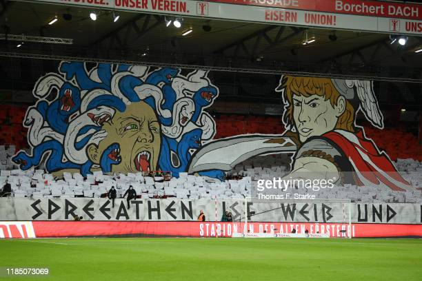Fans of Hertha BSC display a tifo during the Bundesliga match between 1. FC Union Berlin and Hertha BSC at Stadion An der Alten Foersterei on...