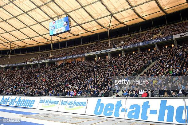 Fans of Hertha BSC during the Bundesliga match between Hertha BSC and Hannover 96 at Olympiastadion on April 8 2016 in Berlin Germany
