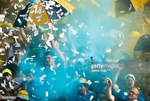 Fans of Hindu Club cheer for their team before a match between Hindu Club and Tala Rugby Club as part of Nacional de Clubes 2017 Final at Club...