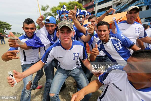 Fans of Honduras pose prior to a first leg match between Honduras and Australia as part of FIFA World Cup Qualifiers Play Off at Estadio Olimpico...