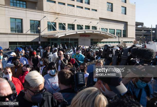 Fans of hospitalized rapper Earl Simmons, aka DMX, attend a prayer vigil hosted by the Ruff Ryders to the Rescue Foundation at White Plains Hospital...