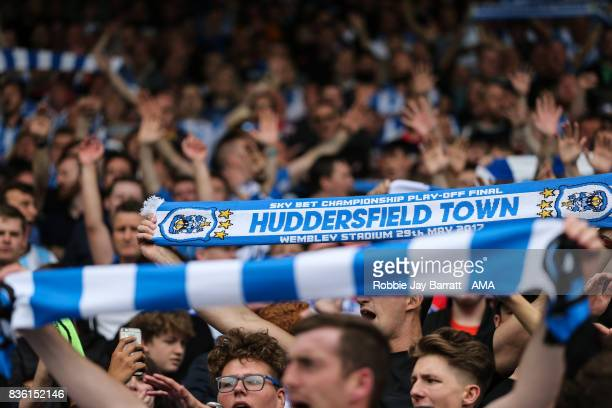 Fans of Huddersfield Town during the Premier League match between Huddersfield Town and Newcastle United at Galpharm Stadium on August 20 2017 in...