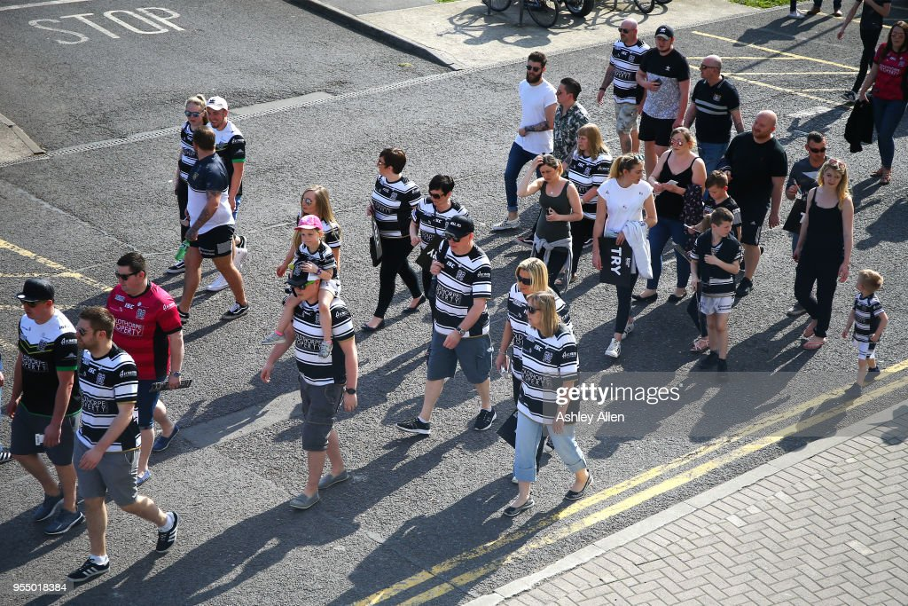 Fans of Hull FC make their way to the ticket office during the Betfred Super League match between Hull FC and Castleford Tigers at KCOM Stadium on May 5, 2018 in Hull, England.
