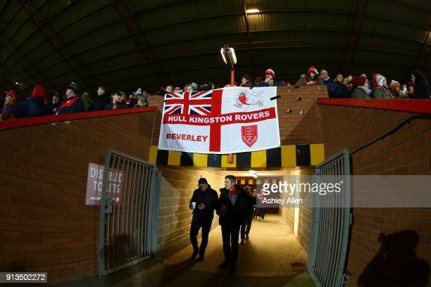 Fans of Hull KR show their support for their team during the BetFred Super League match between Hull KR and Wakefield Trinity at KCOM Craven Park on...