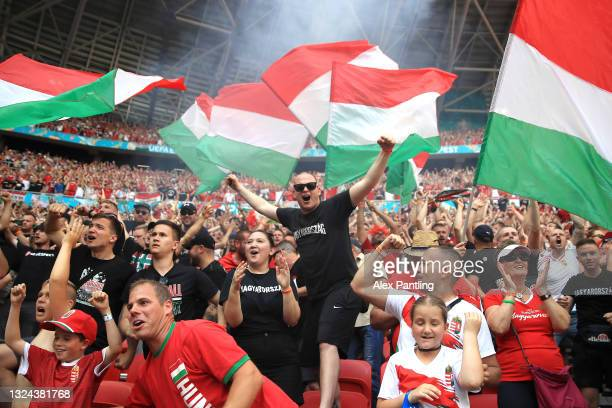 Fans of Hungary celebrate after their side's first goal scored by Attila Fiola of Hungary during the UEFA Euro 2020 Championship Group F match...