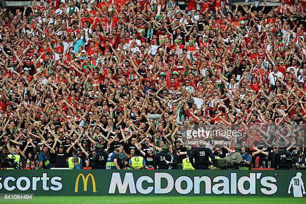 Fans of Hungary during the UEFA EURO 2016 Group F match between Iceland and Hungary at Stade Velodrome on June 18 2016 in Marseille France
