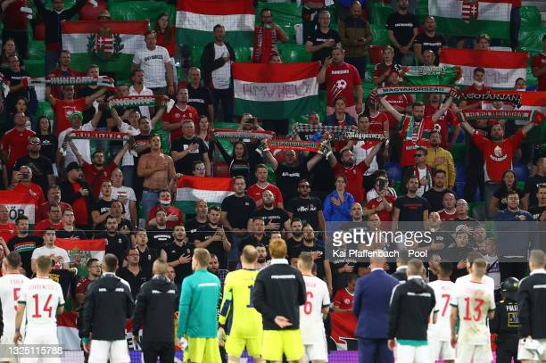 Fans of Hungary show their support after the UEFA Euro 2020 Championship Group F match between Germany and Hungary at Allianz Arena on June 23, 2021...