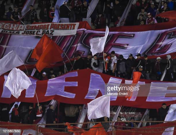 Fans of Huracan cheer for their team during a match between Huracan and River Plate as part of Superliga Argentina 2018/19 at Estadio Tomas Adolfo...