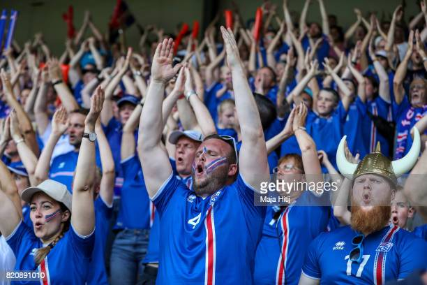 Fans of Iceland celebrate during the UEFA Women's Euro 2017 Group C match between Iceland and Switzerland at Stadion De Vijverberg on July 22 2017 in...