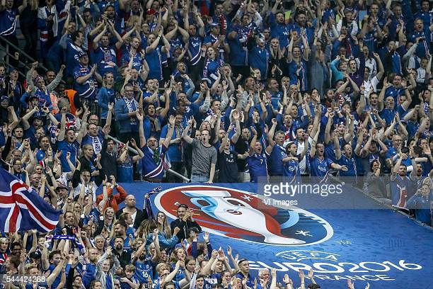 fans of Iceland during the UEFA EURO 2016 quarter final match between France and Iceland on July 3 2016 at the Stade de France in Paris France