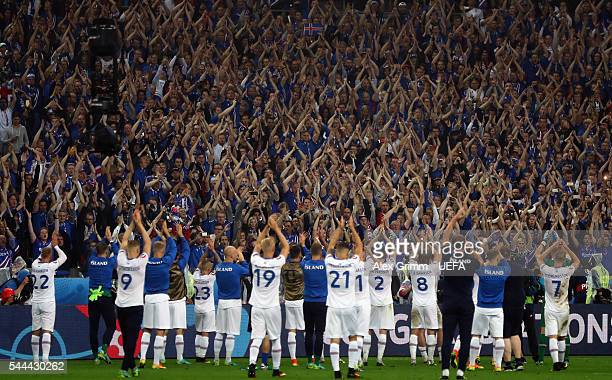 Fans of Iceland show their support for their team after the UEFA EURO 2016 quarter final match between France and Iceland at Stade de France on July...