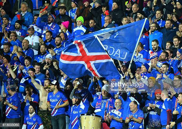 Fans of Iceland support their team during the UEFA 2018 World Cup Qualifying Group I match between Iceland and Finland at Laugardalsvöllur Stadium in...